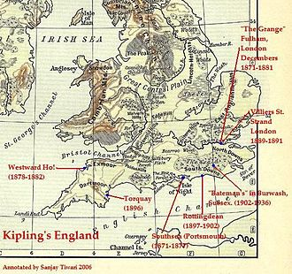 Rudyard Kipling - Kipling's England: A map of England showing Kipling's homes