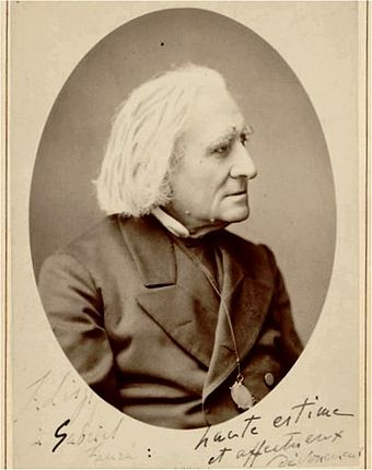 Saint-Saens modelled his symphonic poems on those of Liszt, seen here on a postcard inscribed to Faure Liszt-inscribed-to-faure.jpg