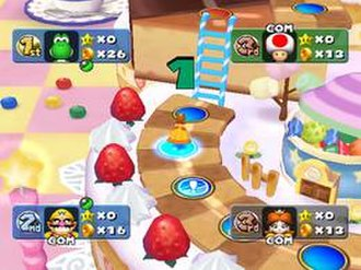 """Mario Party 5 - The """"Sweet Dream"""" board is themed to reflect cakes and other desserts."""