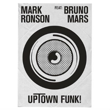 "Capitalised words ""Mark Ronson FEAT. Bruno Mars"" stylised as ""UpTown Funk!"" with capital T and exclamation point. A black and white speaker box in the middle of the image."