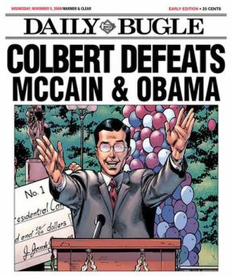 Stephen Colbert presidential campaign, 2008 - Image: Marvel dailybugle colbert wins