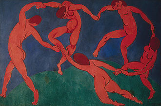 "Modernism - Henri Matisse, The Dance, 1910, Hermitage Museum, St. Petersburg, Russia. At the beginning of the 20th century Henri Matisse and several other young artists including the pre-cubist Georges Braque, André Derain, Raoul Dufy and Maurice de Vlaminck revolutionized the Paris art world with ""wild"", multi-colored, expressive landscapes and figure paintings that the critics called Fauvism. Henri Matisse's second version of The Dance signifies a key point in his career and in the development of modern painting."