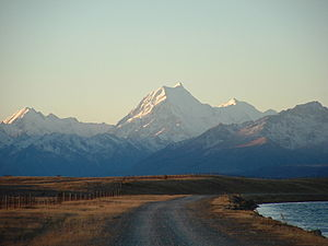 Aoraki/Mt Cook at Dusk viewed from the Tekapo ...