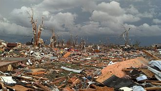 Washington, Illinois - Damage to houses and trees shortly after the November 17, 2013 tornado.