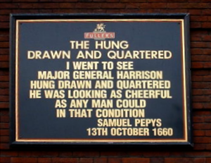 Thomas Harrison (soldier) - Sign outside the Hung, Drawn and Quartered pub in Tower Hill, London