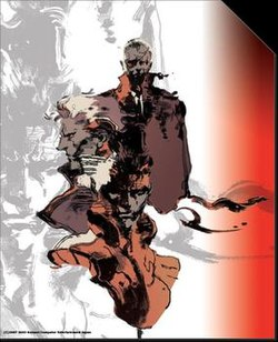From top to bottom, Big Boss, Liquid Snake and Solid Snake, three of the central characters in the Metal Gear series.