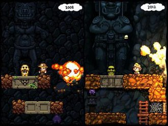Spelunky - Spelunky screenshot comparison of the original version from 2008 (left) and the HD remake from 2012 (right).