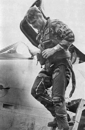 James Stockdale - Stockdale exiting his A-4 fighter-bomber weeks before becoming a POW.