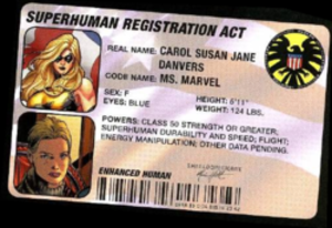 Registration acts (comics) - Image: Superhuman ID card