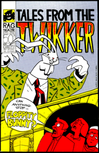 Twikker - Tales From The Twikker: Twikker 1991 cover by D'Israeli. A pastiche of classic Marvel comic covers, incorporating the Wicker Arches. The money spider 'Seb Toots' is the traditional emblem of Sheffield Rag.