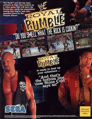 WWF Royal Rumble (2000 video game) - Arcade flyer art featuring Stone Cold Steve Austin and The Rock.