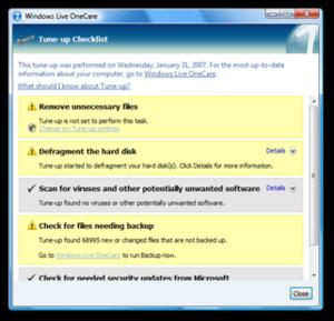 Windows Live OneCare - Image: Winloc tuneup