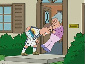 Saving Private Brian - French football player Zinedine Zidane as he appears in the episode, headbutting an old lady as part of her birthday telegram.