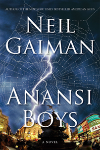 Book cover, Anansi Boys, a fantasy novel