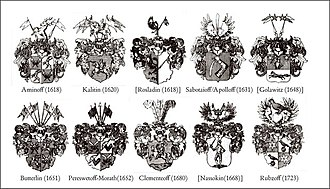 Russian bayors - Swedish coats-of-arms of the immatriculated bayor families except the Baranoffs (the dates refer to the immatriculation at the Riddarhus, not to the beginning of their Swedish service, which in several cases took place much earlier)