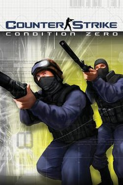 The box art for Counter-Strike: Condition Zero depicts two Counter-Terrorists with guns drawn
