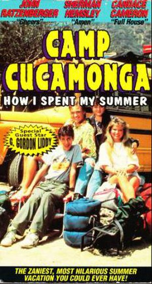 Camp Cucamonga - Camp Cucamonga VHS cover. (Clockwise from left) Josh Saviano, Chad Allen, Danica McKellar, Candace Cameron
