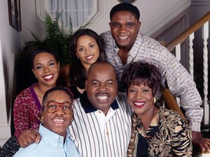 Family Matters - Clockwise from bottom-left: Jaleel White as Steve, Kellie Shanygne Williams as Laura, Michelle Thomas as Myra, Darius McCrary as Eddie, Jo Marie Payton as Harriette and Reginald VelJohnson as Carl