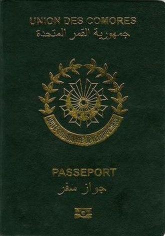 Comorian passport - The front cover of a contemporary Comorian passport.