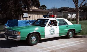 San Diego County Sheriff's Department - Green-and-white Ford LTD Crown Victoria, in 1991.