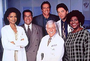Diagnosis: Murder - The cast, 1993-1995: Victoria Rowell, Michael Tucci, Barry Van Dyke, Scott Baio, and Delores Hall, with Dick Van Dyke in the center