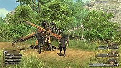 In a sunlit woodland environment, two men in black clothing battle against a monster.