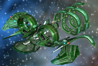 Galactic Civilizations II: Dread Lords - A custom ship on GalCiv IIs main map screen.