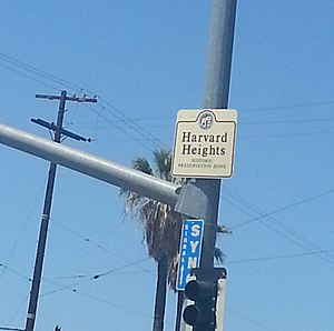 Harvard Heights, Los Angeles - A sign marking the boundary of the Harvard Heights Historic Preservation Zone