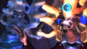 Characters of Halo - Two of the Hierarchs, Regret (left) and Truth (right), consult.