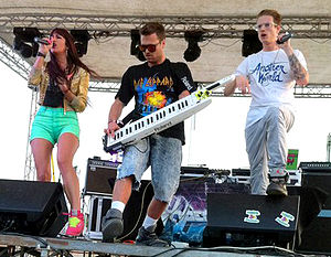 Hyper Crush - Valentine, Moronie, and Fontaine performing at the Never Say Never Festival in 2011
