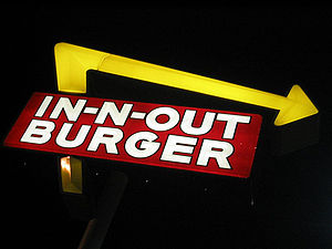 In-N-Out Burger sign in Norwalk, California.