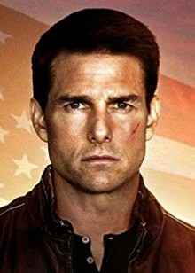This is a scaled-down, low resolution, cropped image of the theatrical poster for the 2012 film Jack Reacher showing the face of actor Tom Cruise