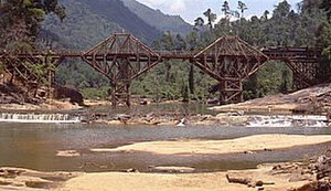 The Bridge on the River Kwai - The bridge at Kitulgala, Sri Lanka, before the explosion seen in the film.