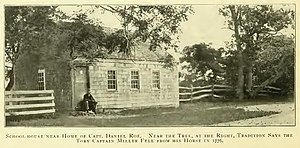 "Selden, New York - From The Diary of Captain Daniel Roe, 1806–08 (1904), caption reads: ""School house near home of Capt. Daniel Roe. Near the tree, at the right, tradition says the Tory Captain Richard Miller fell from his horse in 1776."""