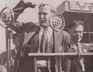 Jay Lovestone - Jay Lovestone with David Dubinsky speaking at a union rally in the 1930s