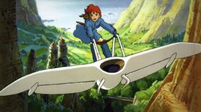 Nausica�, a Miyazaki protagonist, flying her M�we over the Valley of the Wind