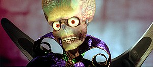 Mars Attacks! - The Martians were created using computer-generated imagery from ILM.