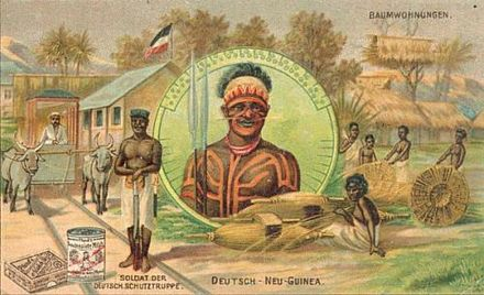 Postcards depicted romanticized images of natives and exotic locales, such as this early 20th-century card of the German colonial territory in New Guinea. Postcard from New Guinea.jpg
