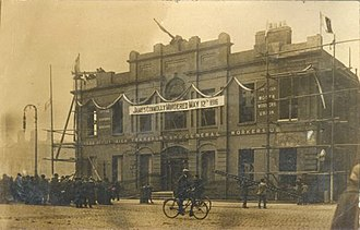 """Rosie Hackett - Postcard of Liberty Hall with a banner reading """"James Connolly Murdered May 12th 1916"""""""
