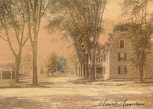Tavern Hall Preservation Society - The Elisha Reynolds House (1738) and the Kingston village well at the corner of Kingstown Road and South Road in Kingston, RI.  Watercolor by David Davidson ca1910.