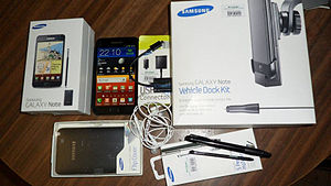 Samsung Galaxy Note (original) - Galaxy Note with some of the standard accessories