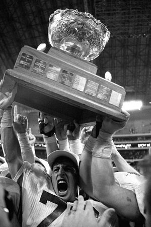 Vanier Cup - The Vanier Cup raised in 1990 by the Saskatchewan Huskies following their win over Saint Mary's.