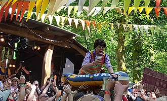 The Bar-Steward Sons of Val Doonican - Scott Doonican crowd surfing at Bearded Theory festival, May 2016