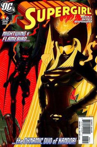 Supergirl (Kara Zor-El) - Kara Zor-El as Flamebird during the events of Supergirl: Kandor. Art by Ed Benes.