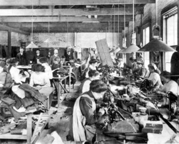 Photograph taken in a 'sweatshop' c.1890