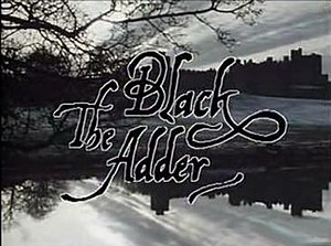 The Black Adder - Title screen, showing Alnwick Castle in Northumberland, a main location for the series.