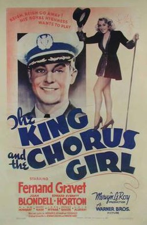 The King and the Chorus Girl - Fernand Gravey and Joan Blondell in Movie Poster (1937)