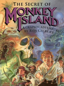 "Artwork of a vertical rectangular box that depicts a group of pirates with swords in front of a montage of a jungle scene, a large skull, and a ship at sea. The top portion reads ""The Secret of Monkey Island: A Graphic Adventure by Ron Gilbert""."