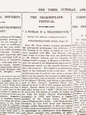 A Woman Is a Weathercock - Excerpt from a review of A Woman Is a Weathercock in The Times, 28 April 1914