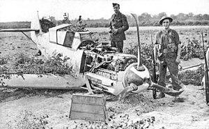 Franz von Werra - Franz von Werra's Bf 109E-4, pictured at Marden, Kent